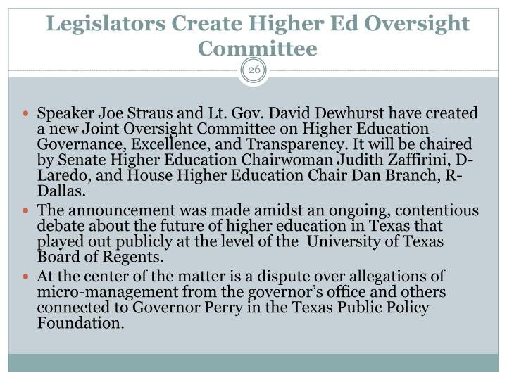 Legislators Create Higher Ed Oversight Committee