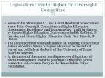legislators create higher ed oversight committee