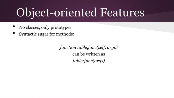Object-oriented Features