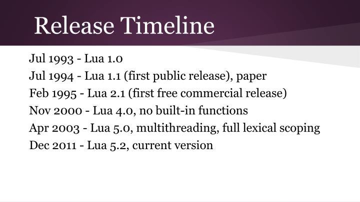 Release Timeline