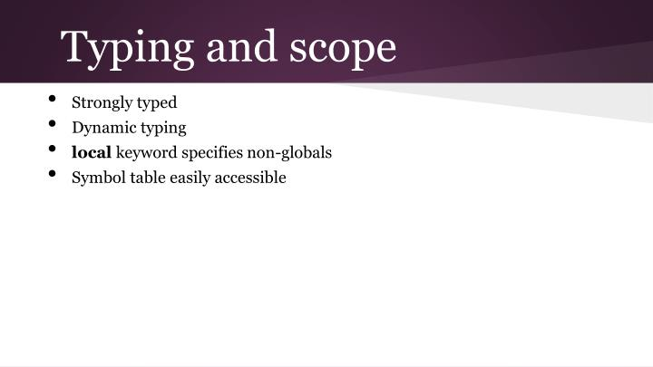 Typing and scope