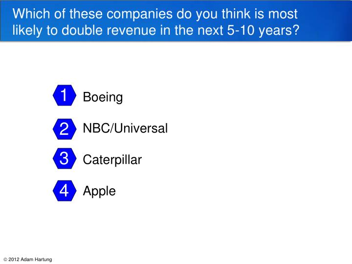 Which of these companies do you think is most likely to double revenue in the next 5-10 years?