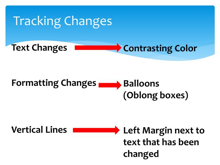 Tracking changes