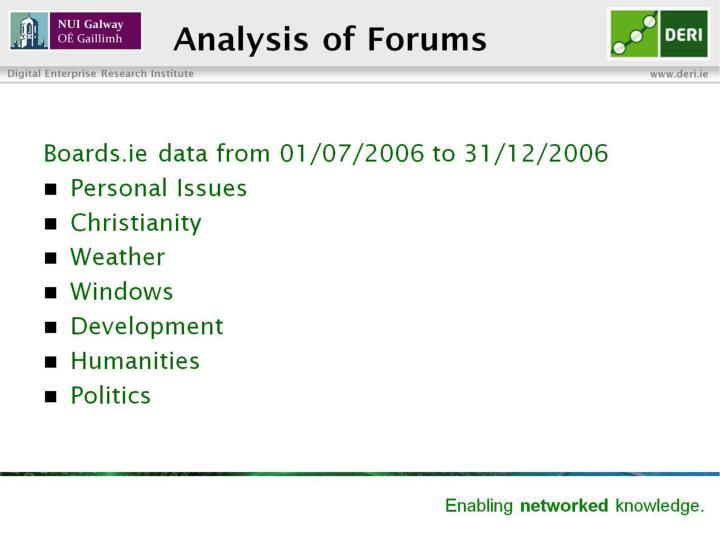 Analysis of Forums