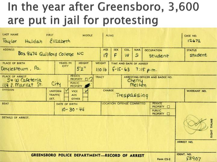 In the year after Greensboro, 3,600 are put in jail for protesting