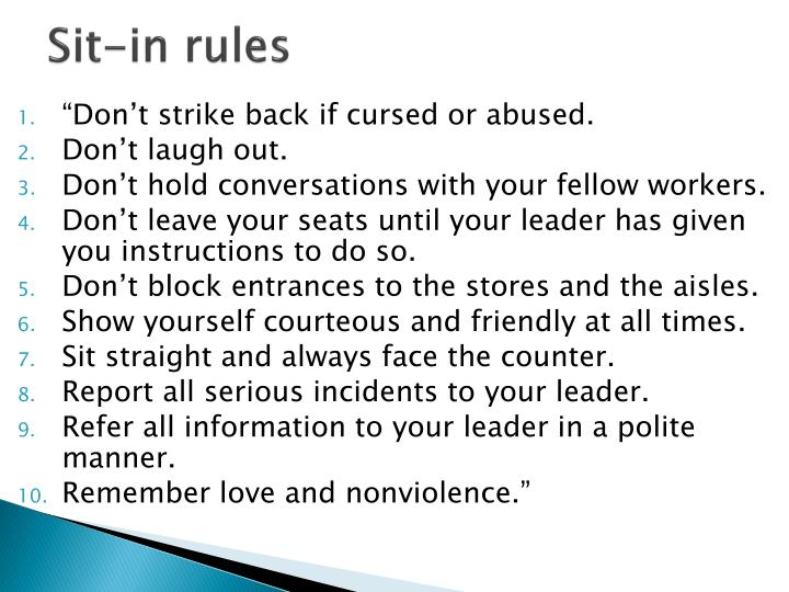 Sit-in rules