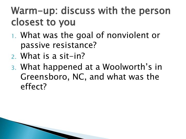 Warm-up: discuss with the person closest to you