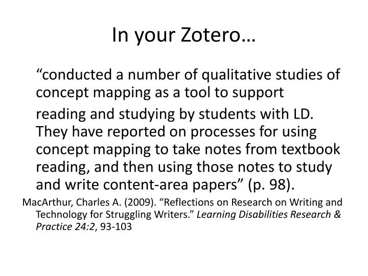 In your zotero
