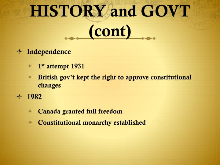 HISTORY and GOVT (cont)