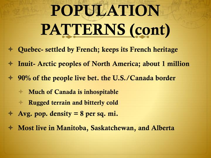 POPULATION PATTERNS (cont)
