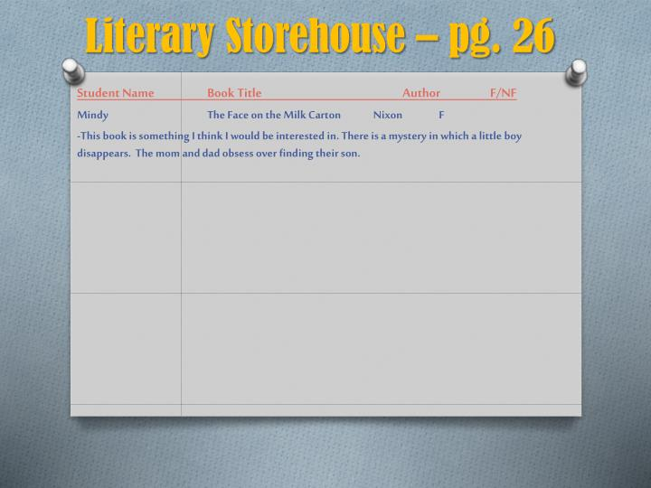 Literary Storehouse – pg. 26