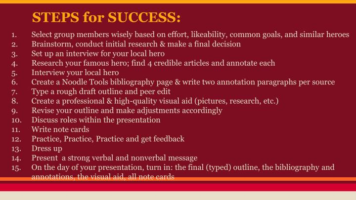 STEPS for SUCCESS: