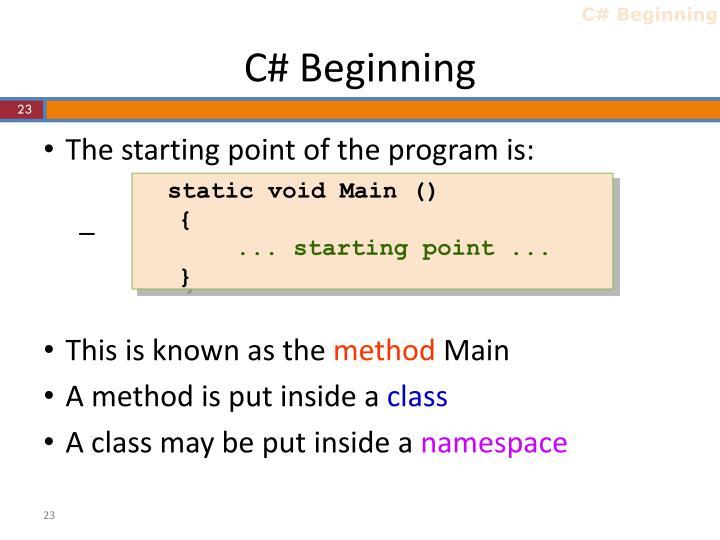 C# Beginning