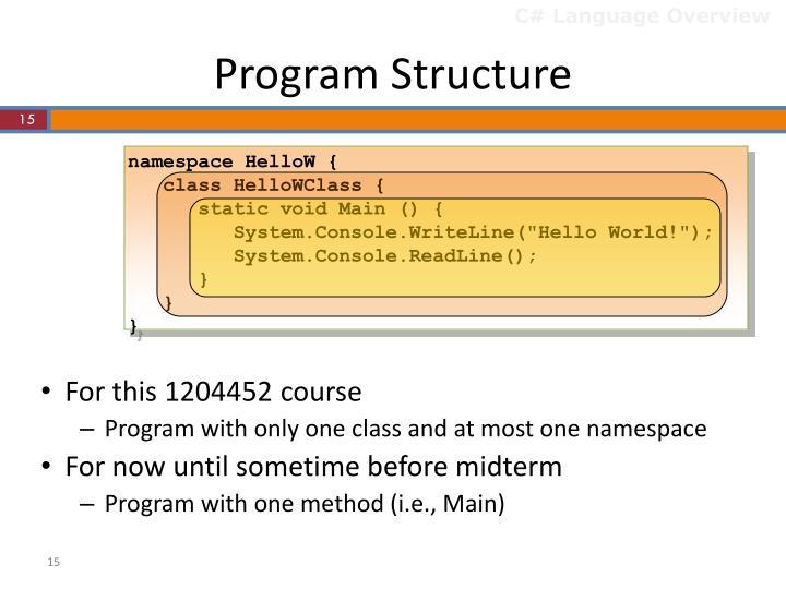 C# Language Overview