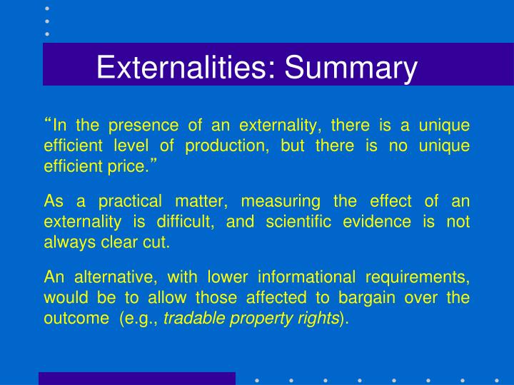 Externalities: Summary
