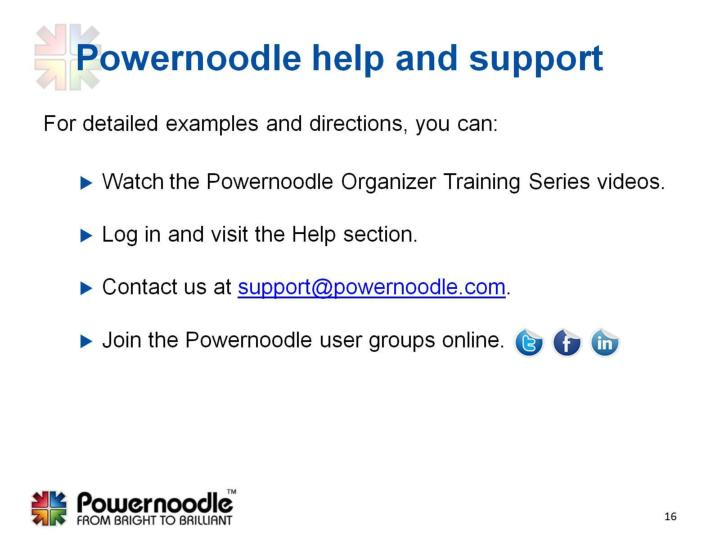 Powernoodle help and support