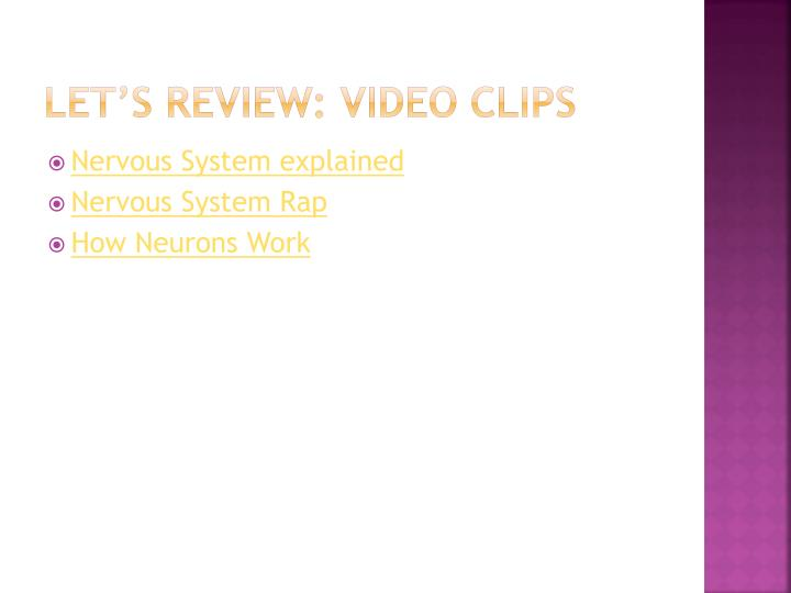 Let's review: video clips