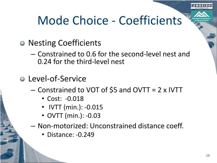 Mode Choice - Coefficients