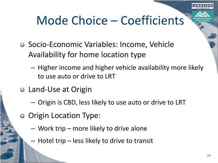 Mode Choice – Coefficients