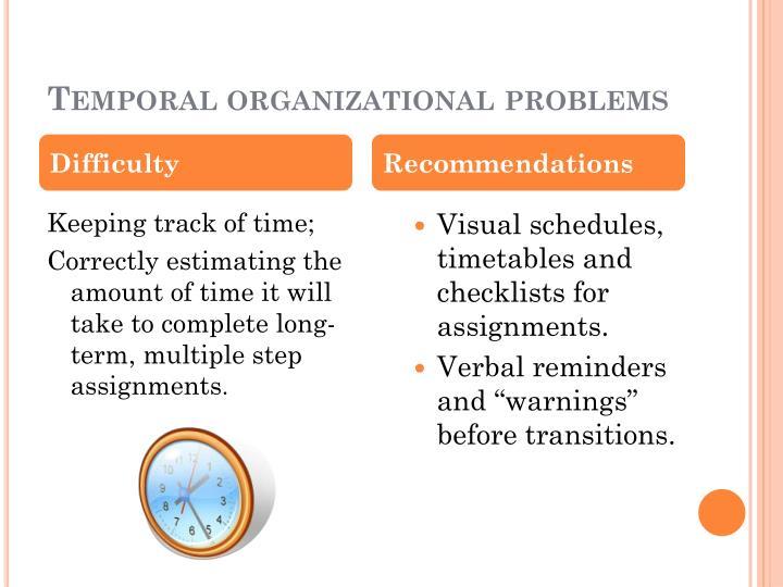 Temporal organizational problems