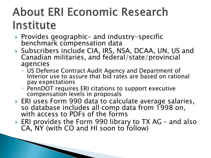 About ERI Economic Research Institute