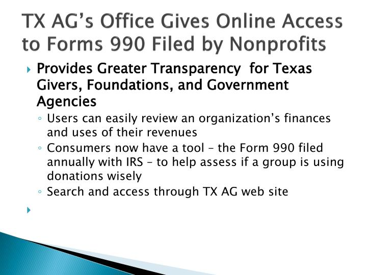 TX AG's Office Gives Online Access to Forms 990 Filed by Nonprofits