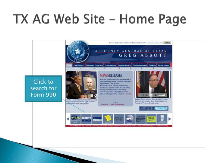 TX AG Web Site – Home Page