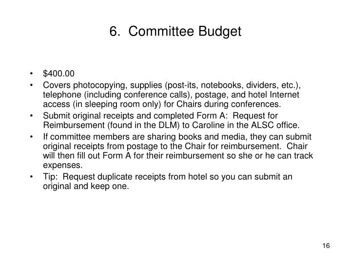 6.  Committee Budget