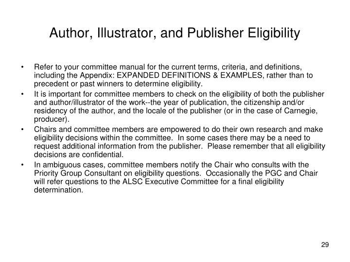 Author, Illustrator, and Publisher Eligibility