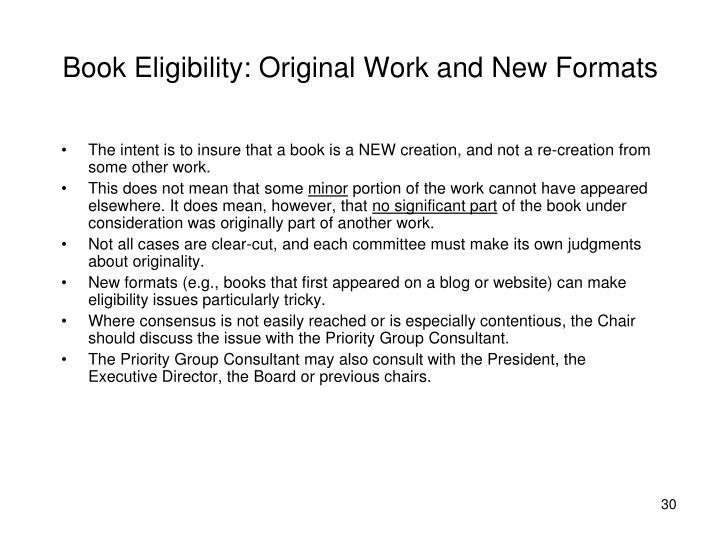 Book Eligibility: Original Work