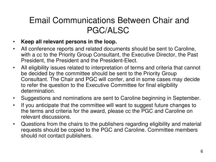 Email Communications Between Chair and PGC/ALSC