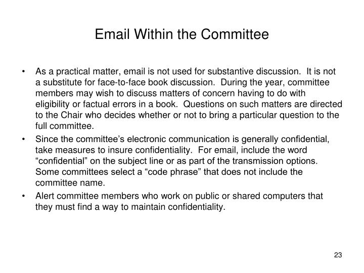Email Within the Committee