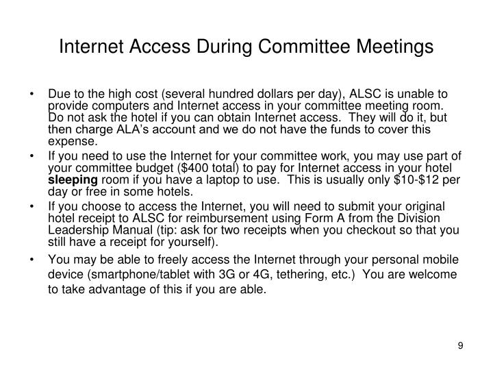 Internet Access During Committee Meetings
