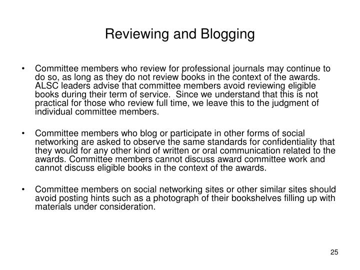 Reviewing and Blogging