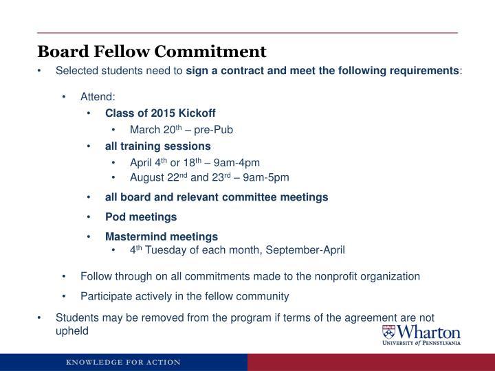 Board Fellow Commitment