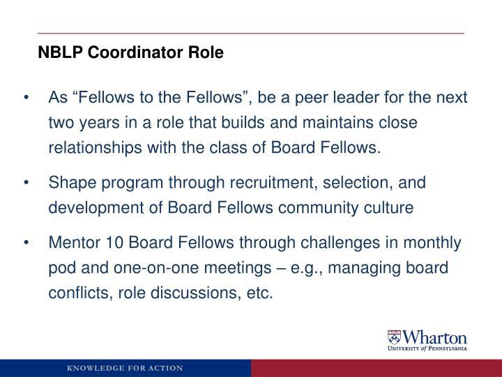 NBLP Coordinator Role