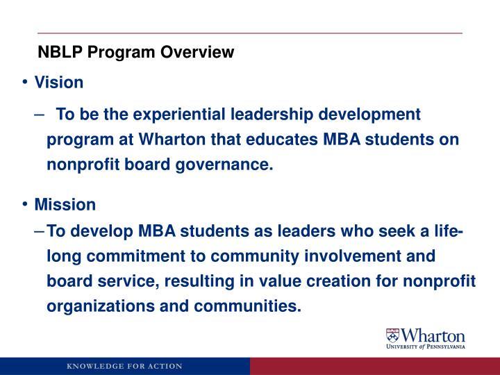 NBLP Program Overview