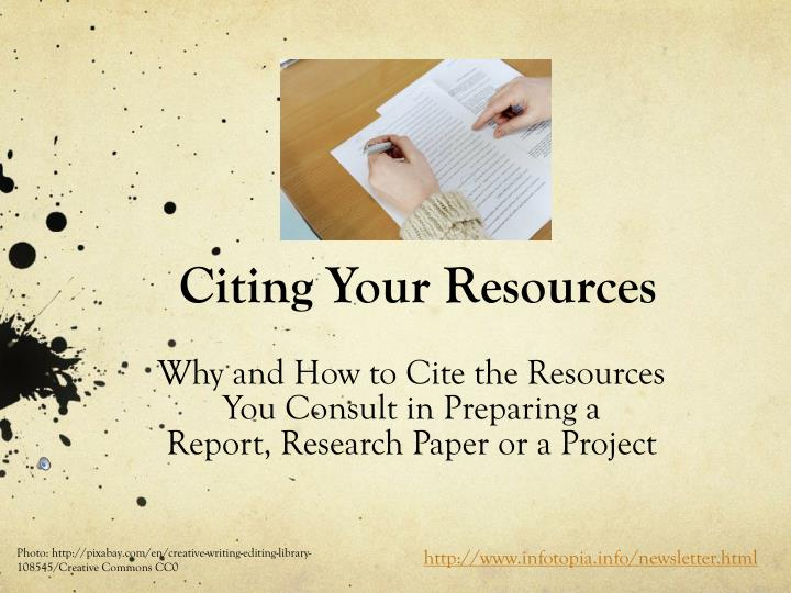 Citing your resources