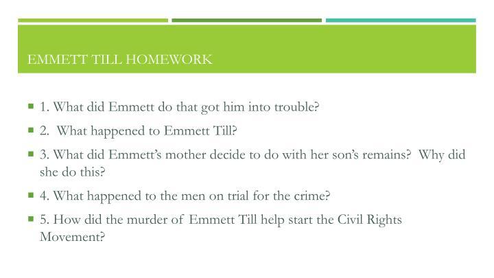 Emmett Till Homework
