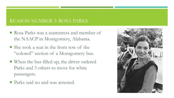 Reason Number 3: Rosa Parks