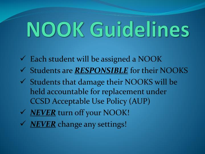 Nook guidelines