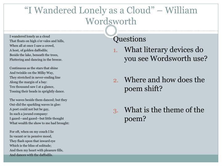 """""""I Wandered Lonely as a Cloud"""" – William Wordsworth"""