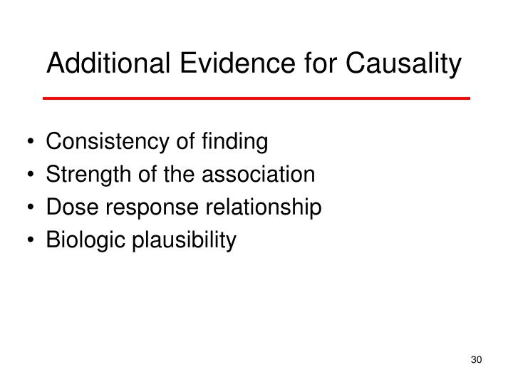 Additional Evidence for Causality