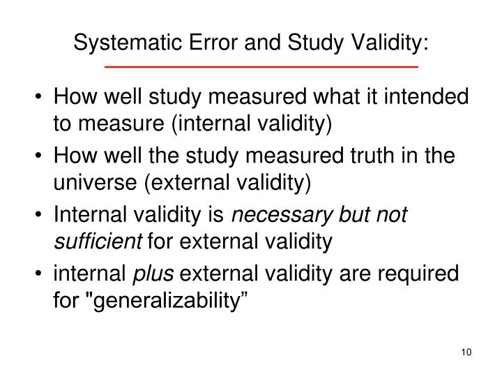 Systematic Error and Study