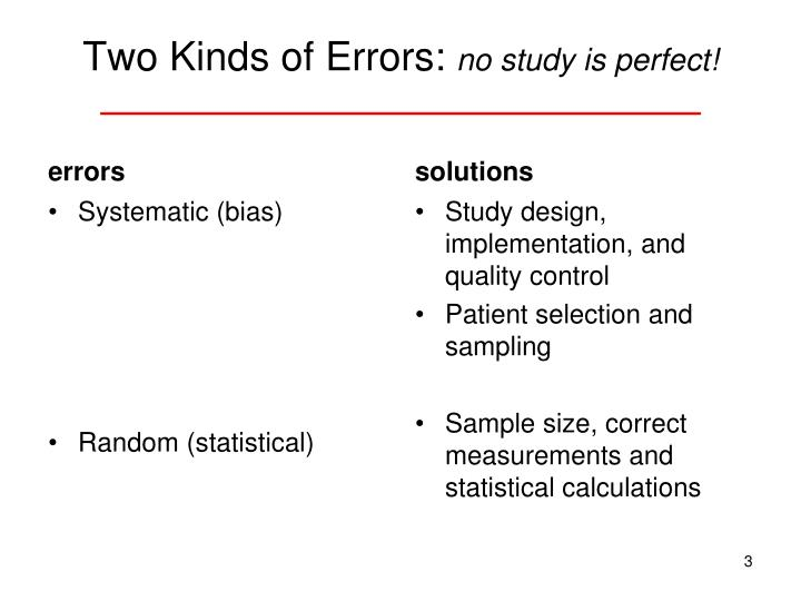 Two kinds of errors no study is perfect