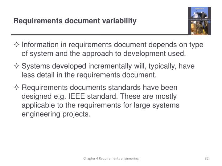 Requirements document variability