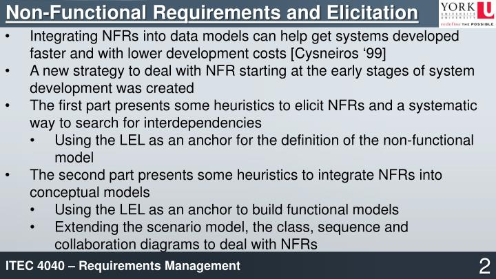 Non-Functional Requirements and Elicitation