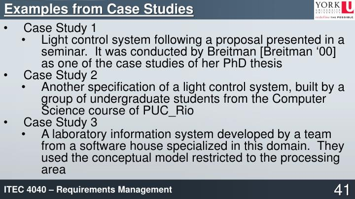 Examples from Case Studies