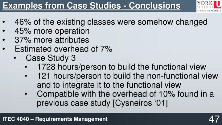 Examples from Case Studies - Conclusions