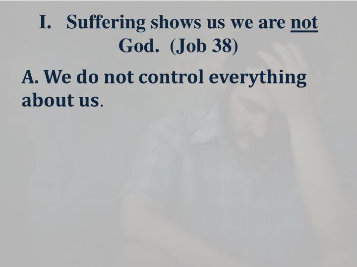 I.   Suffering shows us we are